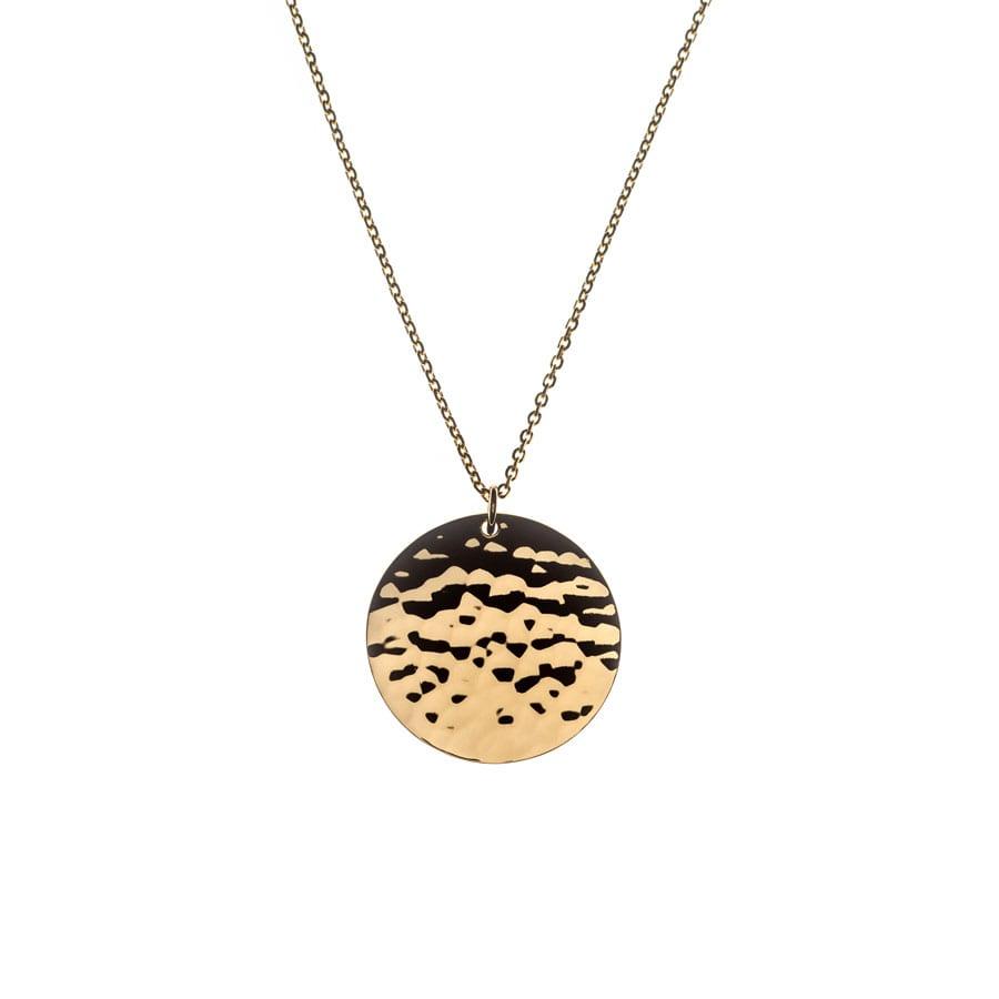 """Collier """"Médaille martelée"""" en plaqué or"""